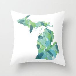 Painted Michigan, Abstract, Blue and Green Throw Pillow