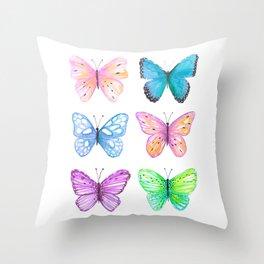 Vibrant butterflies watercolor Throw Pillow