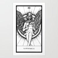 tarot Art Prints featuring Temperance Tarot by Corinne Elyse