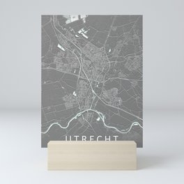 Utrecht Netherlands City Map Grey Mini Art Print