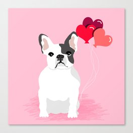French Bulldog love hearts balloons frenchies white and black spot dog breed gifts Canvas Print