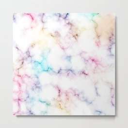 Rainbow Marble Pattern Metal Print