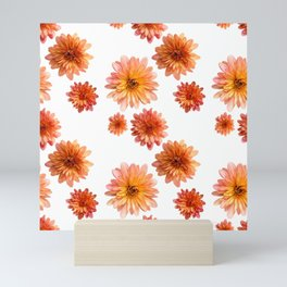 Coral Mum Floral Pattern - Scattered Flowers - Chrysanthemum Bloom Pattern - Real Flowers Mini Art Print