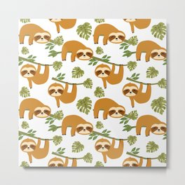 Cute Sloths Hanging, Cute Exotic Baby Animals in the Tropical Jungle Metal Print