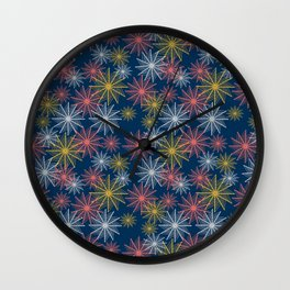Swirl Firework Pattern Deep Blue Wall Clock