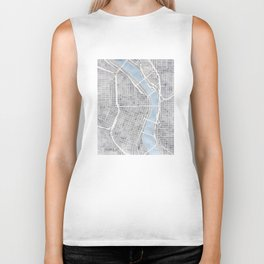 Portland Oregon watercolor city map art Biker Tank