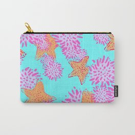 Starfish & Sea Urchin teal Carry-All Pouch