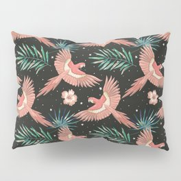 Pink macaw parrots on the starry night sky Pillow Sham