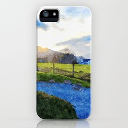 Cool Sunset behind the Farm and Mountains by the Lake District, UK iPhone Case