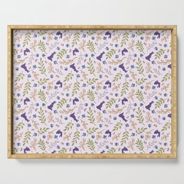 Ditsy Bunnies Amok - Purple Bunnies, Pink Background Serving Tray