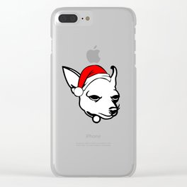 Chihuahua Dog with Christmas Santa Hat Clear iPhone Case