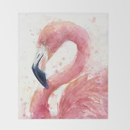 Pink Flamingo Watercolor Throw Blanket