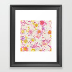 Flower garden in pink and yellow Framed Art Print