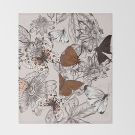 Victorian style classic pattern with butterflies and tropical flowers Throw Blanket