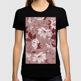 Floral Pink Roses and Flowers T-shirt