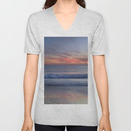 Magical Waves. Square.  Tarifa Beach At Red Sunset Unisex V-Neck