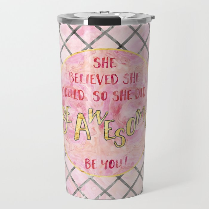Text Art SHE BELIEVED | rose/golden Travel Mug
