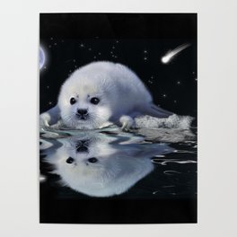Destiny - Harp Seal Pup & Ice Floe Poster