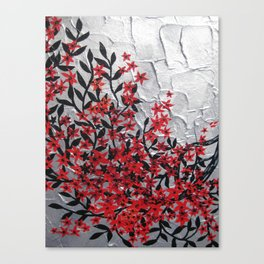 Red and black tree with textured silver background -Modern design Canvas Print