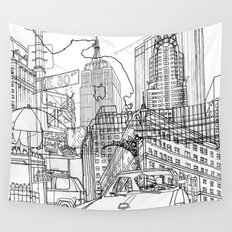 New York! B&W Wall Tapestry