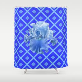 Baby Blue German Iris Blue Pattern Shower Curtain