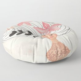 Girl with Swirl Hair Floor Pillow