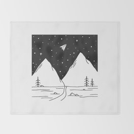 """""""Fly Away"""" - Paper Plane Landscape Throw Blanket"""