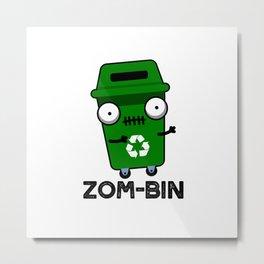 Zom-bin Cute Halloween Zombie Trash Bin Pun Metal Print