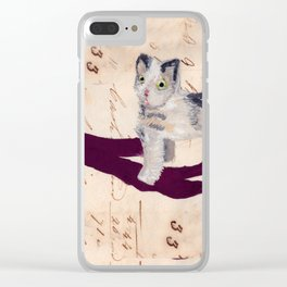 Vintage Fabric Stuffed Cat in Gouache Clear iPhone Case