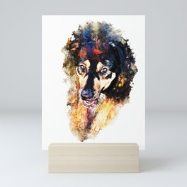 dog 3 splatter watercolor Mini Art Print