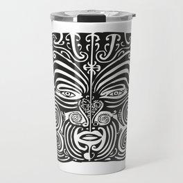 Maori Moko   Tribal Tattoo   New Zealand   Black and White   Travel Mug