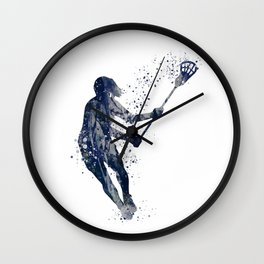 Girl Lacrosse Navy Blue Colorful Watercolor Sports Art Wall Clock