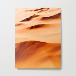Orange Desert Sand Dunes Minimal Texture & Patterns In Nature Metal Print