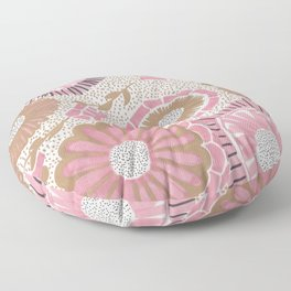 Pink & Gold Flowers Floor Pillow