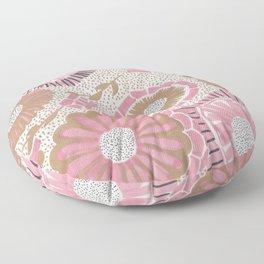 Pink & Gold Flowers Floor Pillow