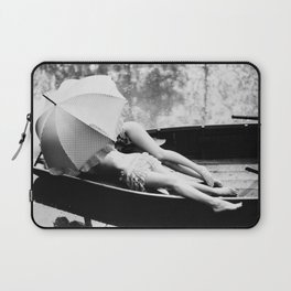 Under my Umbrella, two female figures in row boat together in the rain black and white photography / photograph Laptop Sleeve