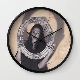 Realism Charcoal Drawing of Beautiful Woman with Antique Frame Wall Clock