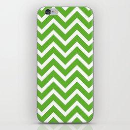 green, white zig zag pattern design iPhone Skin