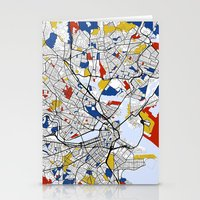 boston map Stationery Cards featuring Boston mondrian map by Mondrian Maps