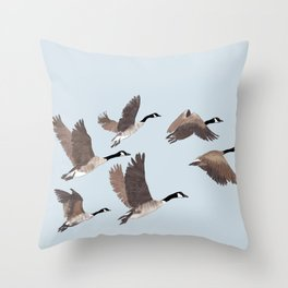 Flock of Canada geese Throw Pillow