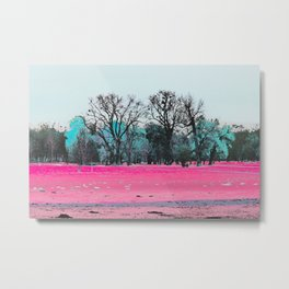 This is what happens when you cover an entire garden with fluorescent ink. Metal Print