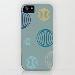 Striped pastel bubbles on teal iPhone Case
