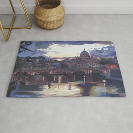 Rome Italy Spectacular Sunset over St Peter Vatican with Tiber and Bridge Rug
