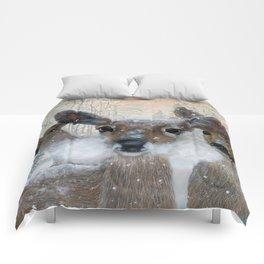 Deer in the Snowy Woods Comforters
