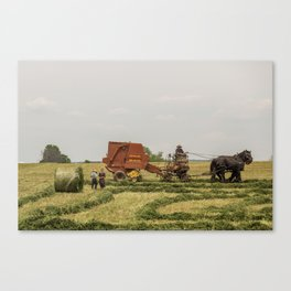 Rural family in the field Canvas Print