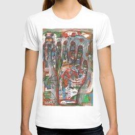 Mà abstracta de colors amb monstre a l 'esquerra T-shirt