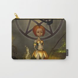 Halloween design with pumpkin,crow and little girl Carry-All Pouch