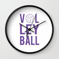 volleyball Wall Clocks featuring Volleyball (lavendar) by raineon