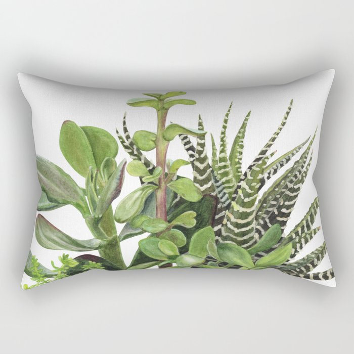 Watercolor Succulents Rectangular Pillow