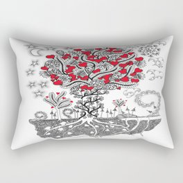 Zentangle Tree of Love - Illustration of Hearts and Love Rectangular Pillow